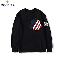 Moncler 2019 new cotton round neck long sleeve sweatshirt Black