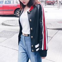 gucci women fashion multicolor stripe embroidery letter long sleeve cardigan leather clothing jacket coat