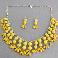 Fun Yellow Necklace, Statement Bib Jewelry Set, Free Earrings, Free Gift Packaing Available
