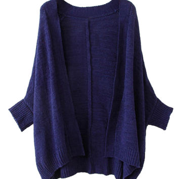 Royal Blue Batwing Sleeve Cardigan