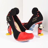 Irregular Choice Black & Red Suede Mickey Mouse Platform Pumps