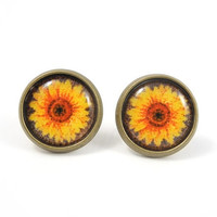 Daisy Earring Studs - Flower Earring Posts - Rustic Earrings - Forest Woodland Nature - Free Shipping Etsy