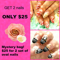 Lucky bag, Oval nails, grabby bag, mystery, discount, sale, fake nails, false nails, kawaii, Japanese nail art