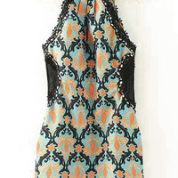 Blue Totem Print Sleeveless Lace Trims Mini Dress