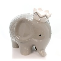 Bank Gray Coco Elephant Bank Baby Hand Painted - 3780GY