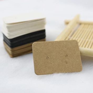 100Pcs 2.5x3.5cm Blank Kraft Paper Ear Studs Card Hang Tag Jewelry Display Earring Crads Favor Marking Garment Prices Label Tags