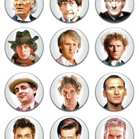 """Set of 12 New Doctor Who 1.25"""" Pinback Button Badge Pin"""