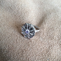 Sterling Silver Flower Heart Ring with delicate center stone, high polished original design sterling silver