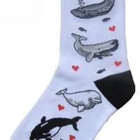 I Love Whales Women Socks Cotton New Gift Fun Unique Fashion