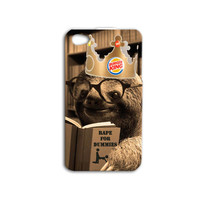 Funny Sloth iPhone Case Cute Sloth iPod Case Book iPhone Case iPhone 4 iPhone 5 iPhone 5s iPhone 4s iPhone 5c Case iPod 4 Case iPod 5 Case