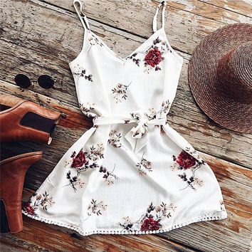 Summer Spaghetti Strap Floral Dress Women Sexy Beach Tank Top Sundresses White Casual Elegant  Mini Party Dresses Vestidos