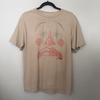 vintage t shirt, clown shirt, 80s tshirt, crying teardrop t-shirt, super faded art graphic tee, 1985, beige moca tan medium m