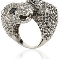 nOir Jewelry Double Headed Panther Pave Ring