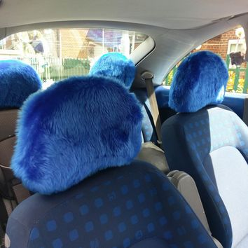 Royal Blue fluffy faux fur car headrest covers 1 pair