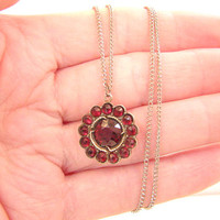 Vintage Bohemian Garnet Daisy Cluster Pendant Necklace, Glowy Rich Red Gems, Rosecuts, Sterling or Gold Chain