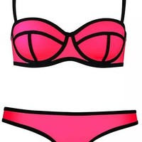 Injoy Women's Sexy Swimwears Bikinis Swimsuit Set Push up Bikini Set (M, Deep pink)