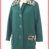 60's Forest Green Wool Coat Faux Leopard Trim-1960s Vintage Coats