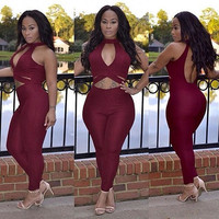 Red Cutout Halter Neck Skinny Jumpsuits