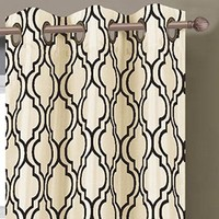 Window Elements Lattice Flocked Faux Silk 76 x 84 in. Grommet Curtain Panel Pair, Ivory/Black