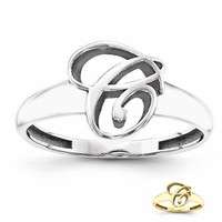 Personalized Sterling Silver or Solid Gold Casted Men's Initial Ring