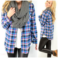 Plaid To The Bone Blue Flannel Top