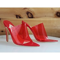 "Mac J Transparent Red Open Pointy Toe Slip On Shoe - 4.5"" High Heel"