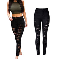 Black White Ripped Jeans For Women 2016 High Waist Jeans Woman Skinny Pencil Pants Slim Trousers For Women Elastic Jeans Hole