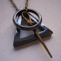 Deathly hallows necklace  symbol   My Original by TheMeltonPot