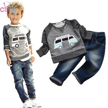 Kids Boys Long Sleeve Pullover Shirt + Jeans Denim Trousers Spring Kids Clothes Casual Boys Clothing Set
