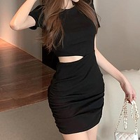 New Temperament High Waist Tight Sexy Bag Hip Hollow Out One Piece Fashion Women'S Clothing Dress
