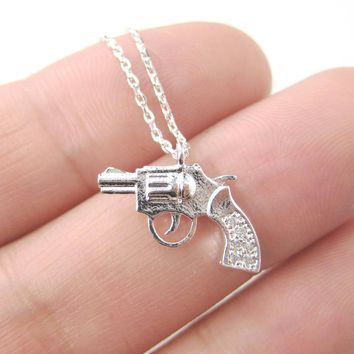 Small Gun Pistol Revolver Shaped Charm Necklace in Silver   DOTOLY