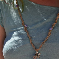 Hemp fairy knotted necklace with mystical lavender beads