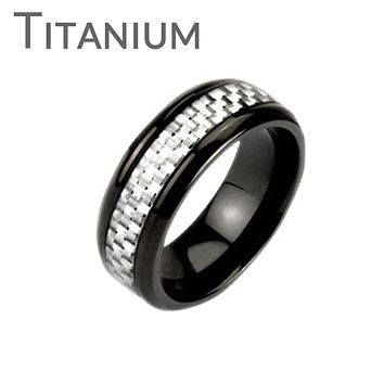 White Hot - FINAL SALE Contemporary and classy black IP titanium men's ring with white carbon band inlay