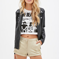 FOREVER 21 Textured Metallic Shorts Gold