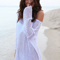 Swimsuit Cover Up ~ Island Dreams, White Crochet Swimsuit Cover up.