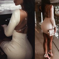 2018 Sexy Women Backless Long Sleeve Bodycon Pencil Dress Evening Clubwear Party Mini Dresses Robe Clothes