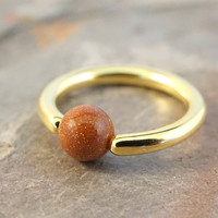 14g 16g 18g Gold Septum Ring Cartilage Hoop Belly Button Jewelry with Sparkling Sunstone Gemstone