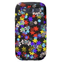 Yellow, Red, Blue, Cream, Violet Flowers On Black Samsung Galaxy SIII Covers from Zazzle.com