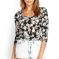 Ruched Floral Crop Top