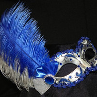 Royal Blue and Silver Feather Masquerade Mask - Made to Order