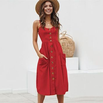 Vintage Button Front Strappy Sundress