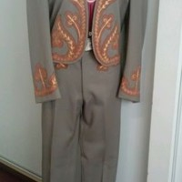 Vtg 1940s Western Rodeo 2Pc Gabardine Suede Embroidered Suit By Vaquero Fashions