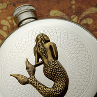 Round Mermaid Flask Hip Flask Silver & Brass Gothic Victorian Nautical Steampunk Pirate Accessories Featured on TheAwesomer dot com
