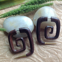 """Fake Gauge Earrings, """"Squared"""" Spirals, Natural, Sono Wood, Brass, Handcrafted"""