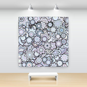 Lilac Particle Floral Stars Abstract Art large print, by San Francisco artist Kristin Henry. boho chic decor Open Edition floralStars9am