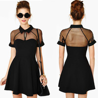 Short Sleeve Chest Cut-Out Collared Mini Skater Dress with Mesh Accent