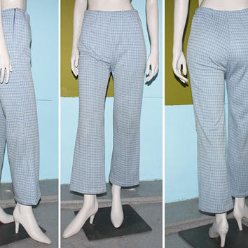 Vintage 70s HIGH WAISTED PLAID Pants / Baby Blue and White Checkered Print / Sailor Leg, Flare Pants / Hidden Stash Pocket / Small Medium