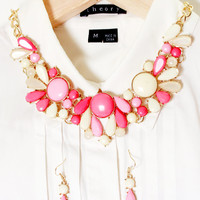 Red Pink White Bubble Statement Necklace with Earring Set Choker Necklace Gift for Women