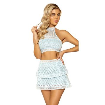 Sexy Taylor Lace Panel Crop and High-Waisted Skirt
