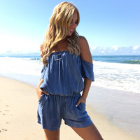 Wish You Well Romper In Sea Blue